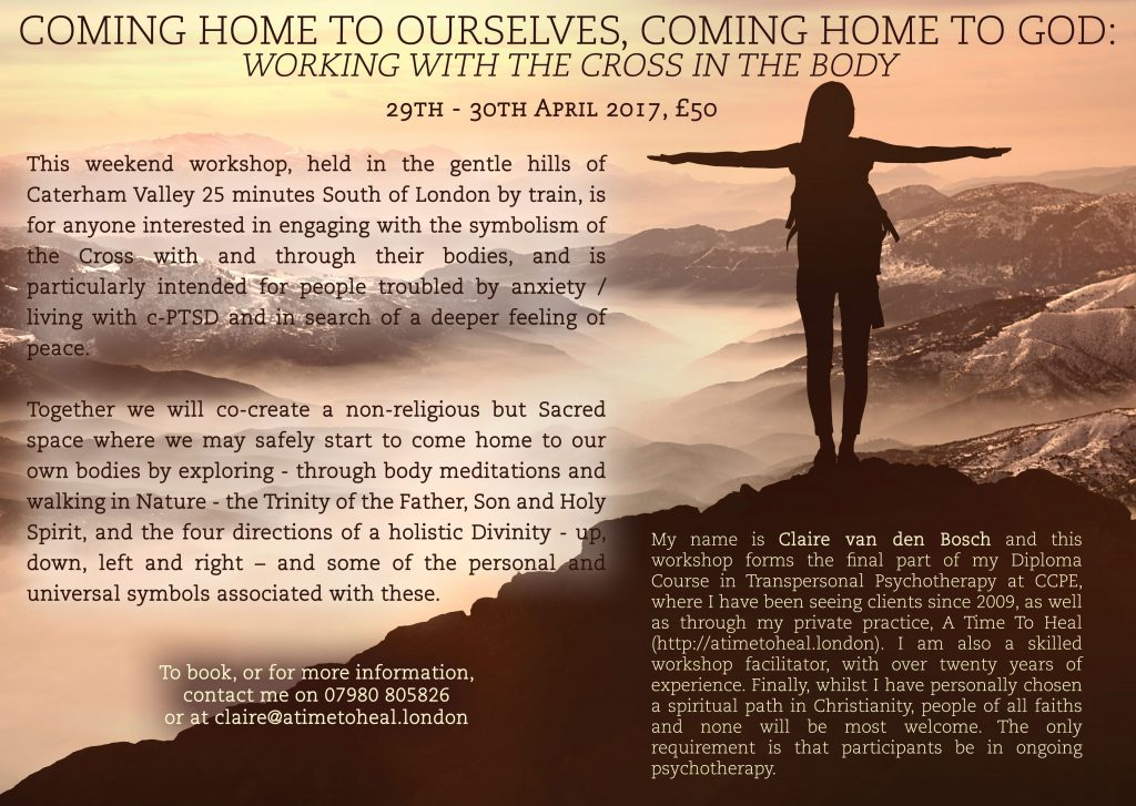 A poster advertising a body meditation workshop scheduled for April 29th-30th 2017 called Coming Home to Ourselves, Coming Home to God. The background image is of a mountain range at dawn. In the foreground is a silhouette of a woman, her feet firmly planted on the earth and her arms outstretched to the sides.