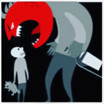 stylised blacks and reds cartoon of angry looming parent with bottle of alcohol looming over scared child with teddy