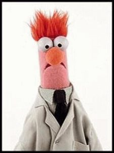 Beaker from The Muppet Show, looking scared as always
