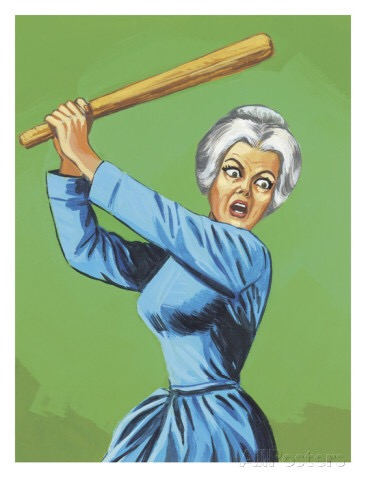 Angry woman wields baseball bat 50s cartoon style image for fatboy slim Mindfulness and anger post