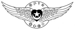 sufi heart logo but with faith symbols from all faiths plus the astrological signs from auckland unitarian church