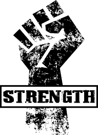 "A workers unite style logo with the word ""STRENGTH"" indicating that we're ready to transition towards something collectively inspired"